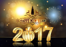 Happy New Year 2017 background / greeting card. With Brightly Colorful Fireworks and colorful lights, on twilight background. Contains 3D 2017 with Christmas Stock Images