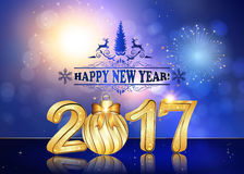Happy New Year 2017 background / greeting card. With Brightly Colorful Fireworks and colorful lights, on twilight background. Contains 3D 2017 with Christmas Stock Photography