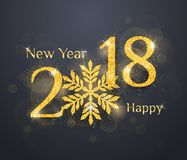 2018 Happy New Year Background. 2018 Happy New Year greeting card background with golden glitter numbers on dark background. Vector holiday banner Royalty Free Stock Photo