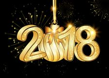 Happy New Year 2018 background / greeting card. Happy New Year 2018 black background / greeting card with Brightly Colorful Fireworks and colorful lights, on Royalty Free Stock Image