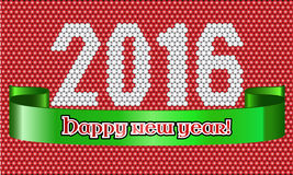 Happy New Year 2016 background for greeting card. Illustrated Happy New Year 2016 background for poster, brochure, greeting card with bubble pattern Stock Photography
