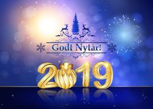 Happy New Year 2019- greeting card with text in Danish. Happy New Year 2019 - background for greeting cards with shiny fireworks on a light blue background royalty free stock photo