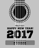 Happy New Year on the background of guitars and strings. Vector illustration Stock Photos