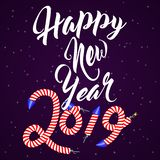 2019 Happy New Year background with hand drawn lettering and rocket fireworks text effect. New Year design template vector illustration