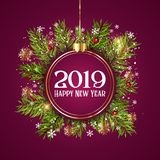 Happy New Year background with hanging bauble on fir tree branch. Es and snowflakes stock illustration