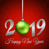 Happy new year background with hanging bauble stock illustration