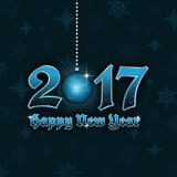 Happy New Year 2017  background with hanging bauble and snowflakes pattern. Happy New Year 2017  illustration with hanging bauble and snowflakes pattern Stock Photography