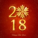 2018 Happy New Year Background. With golden glitter numbers on red background. Vector holiday design for your flyer banner and greeting cards Royalty Free Stock Image