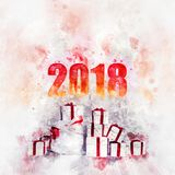 2018 Happy New Year background. With a heap of gift boxes. Digital watercolor painting. Digital art Royalty Free Stock Photography