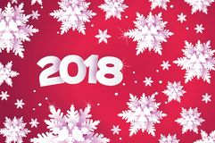 2018 Happy New Year Background.. 2018 Happy New Year Background. Red Greetings Card for Christmas invitations. Paper cut snow flake. Paper cut Winter Royalty Free Stock Photography
