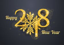 2018 Happy New Year Background. 2018 Happy New Year greeting card background with golden glitter numbers on dark background. Vector holiday banner Royalty Free Stock Images