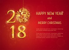 2018 Happy New Year Background. 2018 Happy New Year and Merry Christmas Background with golden glitter numbers with Christmas ball on red background. Vector Royalty Free Stock Photography
