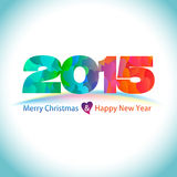 Happy new year background with heart pattern for 2015 Royalty Free Stock Image