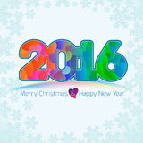 Happy new year background with heart pattern for 2016 Stock Photos