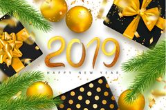 2019 Happy New Year background for holiday greeting card, invitation, party flyer, poster, banner. Beautiful golden tree balls,Chr. Istmas tree branches,gift stock illustration