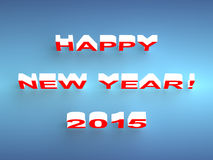 Happy New Year 2015 background. Holiday inscription HAPPY NEW YEAR 2015  on blue with a soft shadow Stock Image