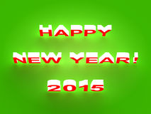 Happy New Year 2015 background. Holiday inscription HAPPY NEW YEAR 2015 isolated on green with a soft shadow Stock Images