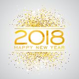 2018 Happy New Year Background Illustration with Gold Glitter Typograph Number. Vector Holiday Design for Premium. Greeting Card, Party Invitation or Promo Royalty Free Stock Photography