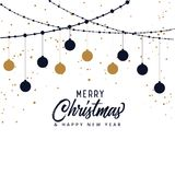 Happy New Year background with lettering design. Magic Christmas. Merry Christmas Stock Photo