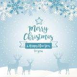 Happy New Year background with lettering design. Magic Christmas. Merry Christmas Royalty Free Stock Images