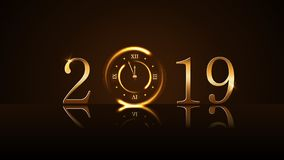Happy New Year background. Magic gold clock countdown five minute. Golden numbers 2019. Christmas night design light. Glitter. Symbol of wish, celebration royalty free illustration