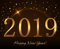 Happy New Year background. Magic gold rain and globe. Golden numbers 2019 on horizon. Christmas planet design. Light. Glow and sparkle, glitter. Symbol of wish stock illustration
