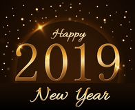 Happy New Year background. Magic gold rain and globe. Golden numbers 2019 on horizon. Christmas planet design. Light. Glow and sparkle, glitter. Symbol of wish vector illustration