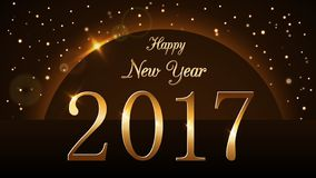 Happy New Year background with magic gold rain and globe. Golden numbers 2017 on horizon. Christmas planet design light stock illustration