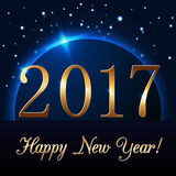 Happy New Year background. With magic gold rain and globe. Golden numbers 2017 on horizon. Christmas planet design light, glow and sparkle, glitter. Symbol of Stock Photo