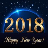 Happy New Year background with magic gold rain and globe. Golden numbers 2018 on horizon. Christmas planet design light. Glow and sparkle. Symbol of wish royalty free illustration