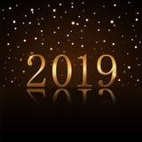 Happy New Year background. Magic gold rain. Golden numbers 2019 on horizon. Christmas design. Light, glow and sparkle. Glitter. Symbol of wish, celebration royalty free illustration