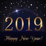 Happy New Year background. Magic rain and blue globe. Golden numbers 2019 on horizon. Christmas planet design. Light. Glow and sparkle, glitter. Symbol of wish royalty free illustration