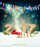 Happy New Year 2017 background with a magical gift box. Royalty Free Stock Images