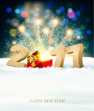 Happy New Year 2017 background with a magical gift box. Stock Photography