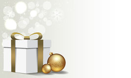 Happy New Year Background. Merry Christmas background with gift box and christmas ball Royalty Free Stock Photography
