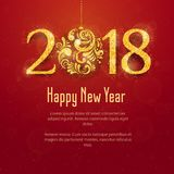2018 Happy New Year Background. 2018 Happy New Year and Merry Christmas Background with golden glitter numbers with Christmas ball on red background. Vector Stock Photo