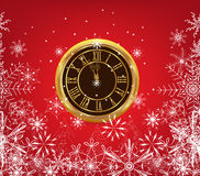 Happy new year background with old clock and snowflakes.  Royalty Free Stock Photography