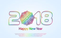 Vector Happy New Year 2018 background with paper cuttings. Happy New Year 2018 background with paper cuttings. Numbers 1, 2, 8 and snowflake cut from paper for Royalty Free Stock Photo