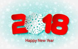 Vector Happy New Year 2017 background with paper cuttings. Happy New Year 2018 background with paper cuttings. Numbers 1, 2, 8 and snowflake cut from paper for Stock Photo