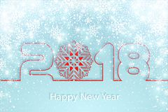 Vector Happy New Year 2017 background with paper cuttings. Happy New Year 2018 background with paper cuttings. Numbers 1, 2, 8 and snowflake cut from paper for Royalty Free Stock Photos