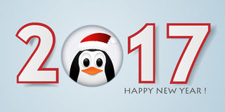 Happy New year background with penguin. Vector illustration. 2017 Happy New year background with penguin. Vector illustration Stock Image