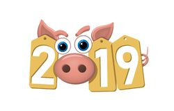 Happy New Year background. Pink pig, gold sale tags. Golden 2019 numbers. Piggy snout. Chinese design decoration. Celebration card, Christmas discount. Cartoon royalty free illustration