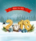 Happy New Year 2018 background with presents and clock. Stock Photos