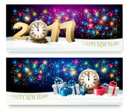 Happy New Year background with presents and fireworks. Vector Royalty Free Stock Photos