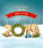 Happy New Year 2019 background with presents and wreath. stock illustration