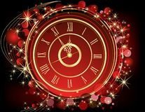 Happy New Year background. Red and gold stock illustration
