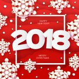 2018 Happy New Year Background. Red Greetings Card for Christmas invitations. Paper cut snow flake. Paper cut Winter. Snowflakes Square frame. Text. Origami Stock Images
