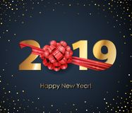 2019 Happy New Year background. Seasonal greeting card template. 2019 Happy New Year background with red ribbon and bow. Christmas winter holidays design Stock Photography