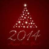 Happy New Year background. Red Happy New Year background with stars Stock Photography
