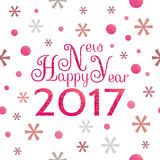 2017 Happy New Year background. With red symbolic  snowflakes and circles and greeting  inscription Stock Photography